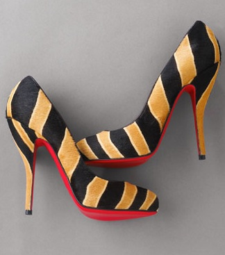Louboutin striped platform pump