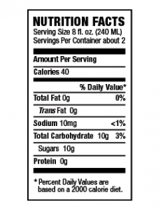 Steaz Nutrition Facts